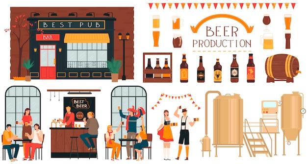 Пивоваренное производство пива, люди в пабе, набор героев мультфильмов на белом, иллюстрация