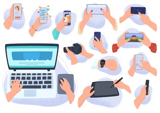 Руки с гаджетами и электронными устройствами, современные компьютерные технологии, смартфон, планшет, ноутбук, иллюстрация