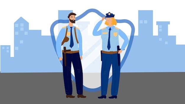 Полицейские мужчина и женщина в форме, векторная иллюстрация