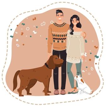 ペット、犬と猫の所有者、ベクトルイラストと幸せなカップル