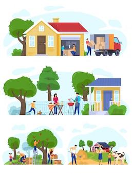 Семья переезжает в загородный дом, набор сцен образа жизни векторная иллюстрация