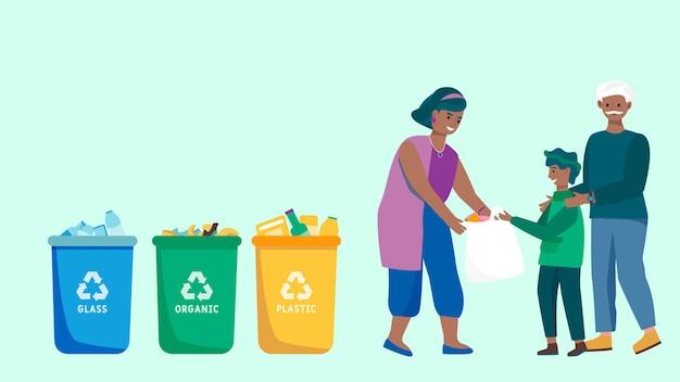 Семья сортировки мусора и утилизации отходов, люди собирают мусор, векторная иллюстрация