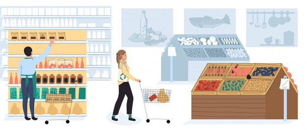 食料品店、スーパーマーケットの顧客、ベクトルイラストで買い物をする人