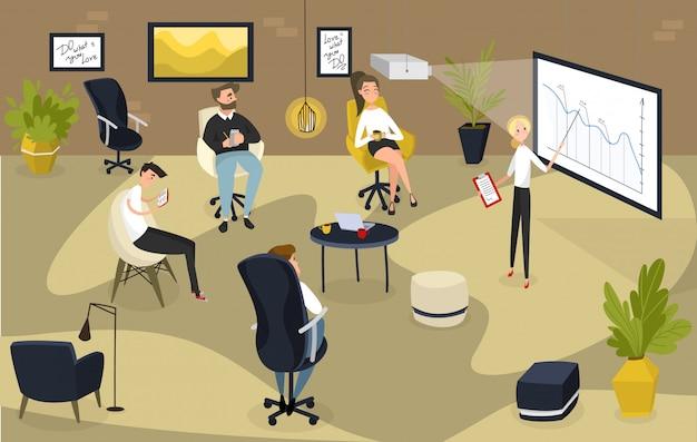 Люди на бизнес-презентации, менеджер проектной команды, иллюстрация