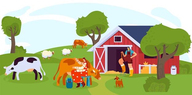 Женщина доит корову на ферме, люди работают на ранчо, иллюстрация