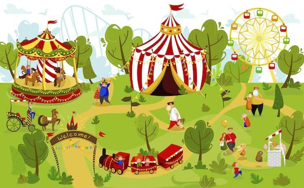 遊園地、夏の遊園地の人々、イラストで一緒に幸せな家族
