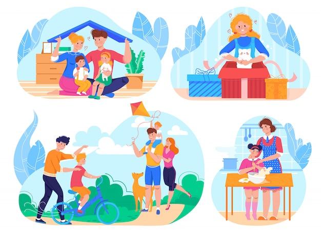 Семейная жизнь повседневной жизни и деятельности иллюстрации набор, родители с детьми в парке, приготовление пищи вместе.