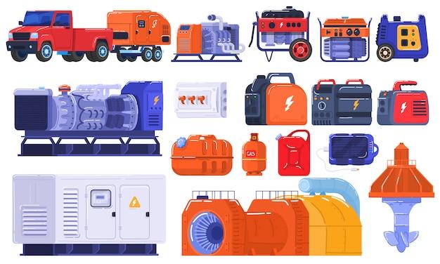 Комплект генераторов энергии производя портативное электрическое оборудование, машины бензин топлива промышленный двигатель на белой иллюстрации.