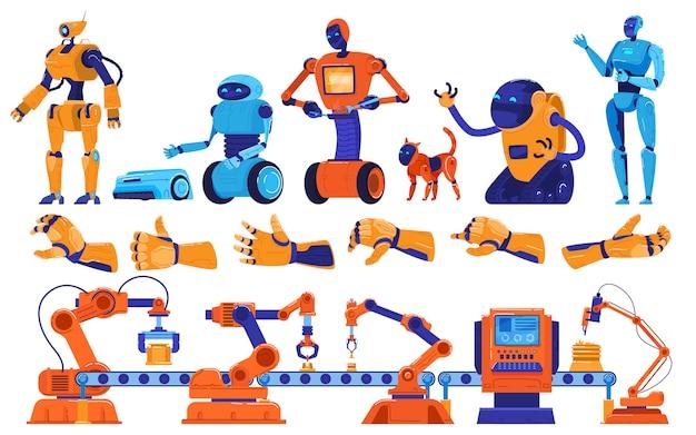 Роботы и производство робототехники, промышленное оборудование, машины сборочного конвейера, иллюстрации рабочих-роботов.