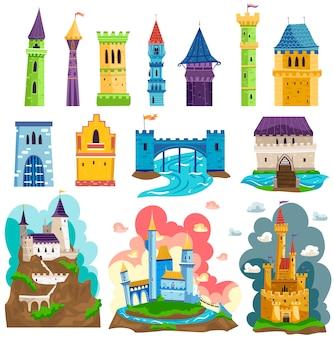 Замки башен и крепостей, архитектурные иллюстрации, мультипликационный набор, сказочные средневековые дворцы с башнями, стенами и флагами.