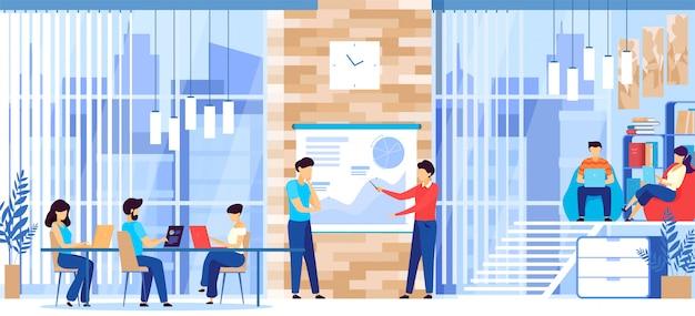 Люди, работающие в современном просторном офисе деловой компании, иллюстрация