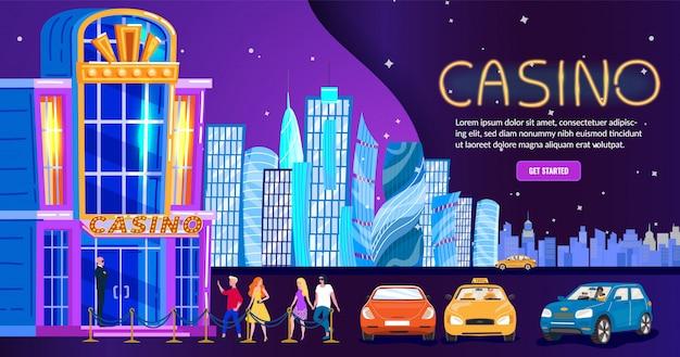 夜の街のカジノ、人々のナイトライフクラブの入り口、ウェブサイト、イラストのスカイラインの背景