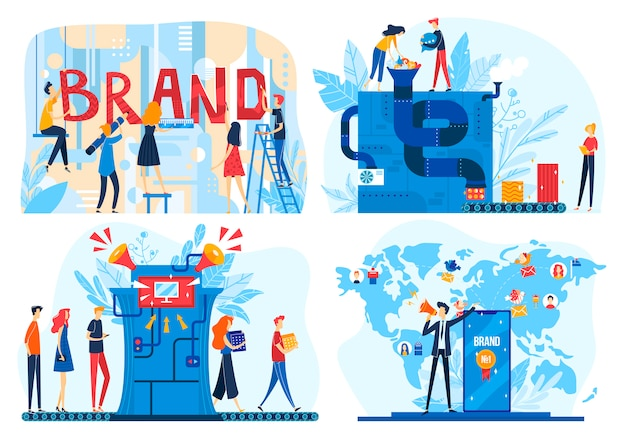 Иллюстрации процесса создания бренда, команда разработчиков мультфильмов, создающая корпоративный продукт, значки бизнес-процесса брендинга