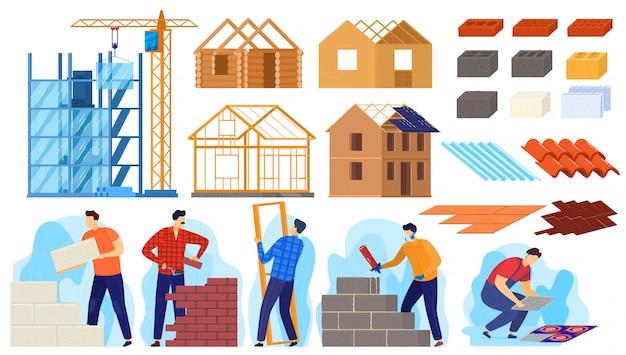 建設建物の活動図、漫画の現役労働者のキャラクターが家を建てる、建設作業をしているビルダー