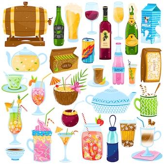 漫画ドリンクイラストセット、冷たいまたは熱い飲み物カフェバーメニューのコレクション、ジュース夏のトロピカルカクテル、ティーカップ