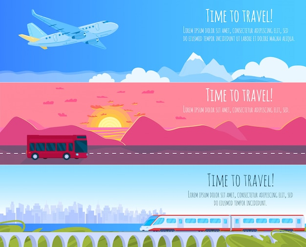 旅行輸送イラストセット、漫画フラットな近代的な電車、バス、自然の風景や街並みを旅する飛行機