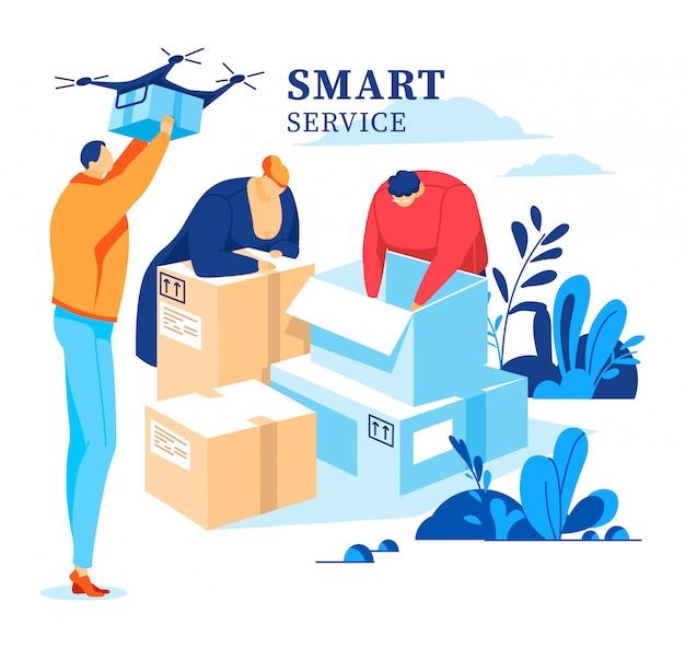 ボックスの包装、注文の配信、顧客、宅配便の人、白、デザイン、フラットスタイルのイラストで隔離との仕事。