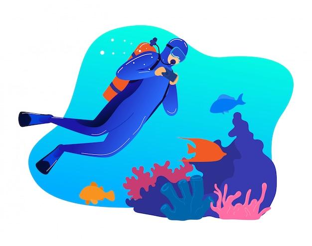男性プロ水中水泳、男キャラクター職業ダイビング白、漫画イラスト上に分離されて。ダイバーは写真撮影の海洋生物を作ります。