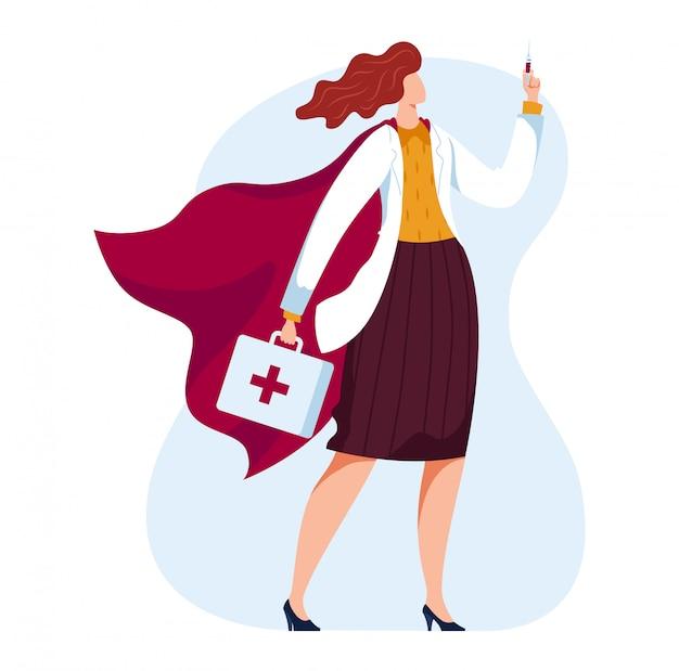 Женщина-врач, будущая медицина, скорая помощь, помощь пациенту