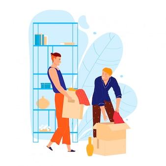 Мужской персонаж помогает другу переехать в дом, человек нести коробку личных вещей, изолированных на белом