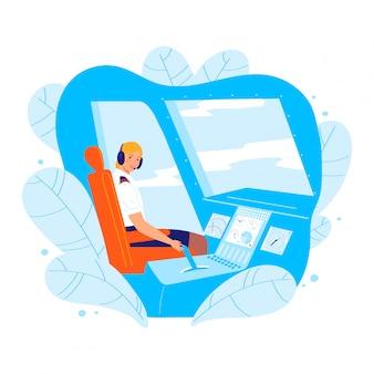Характер женщины пилота гражданской авиации, занятие профессионального водителя пассажирского самолета женщины изолированное на белой иллюстрации шаржа.