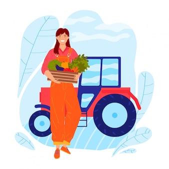 Фермер женщина характер нести урожай урожая, профессиональный работник женского пола