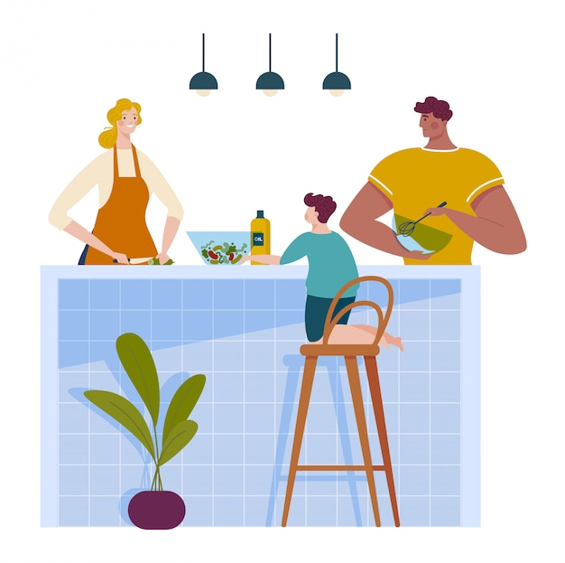 家族一緒にキッチンは、漫画の実例を白で隔離される夕食を作って時間、母父と子供男の子を費やします。