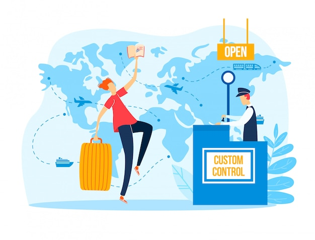 Жизнерадостный пограничный контроль пропуска мужского характера, паспорт владением человека перемещения, билет самолета и багаж изолированные на белизне, иллюстрации шаржа.