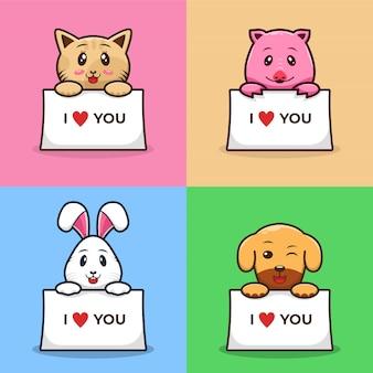 Набор домашних животных держит белую бумагу милый мультфильм