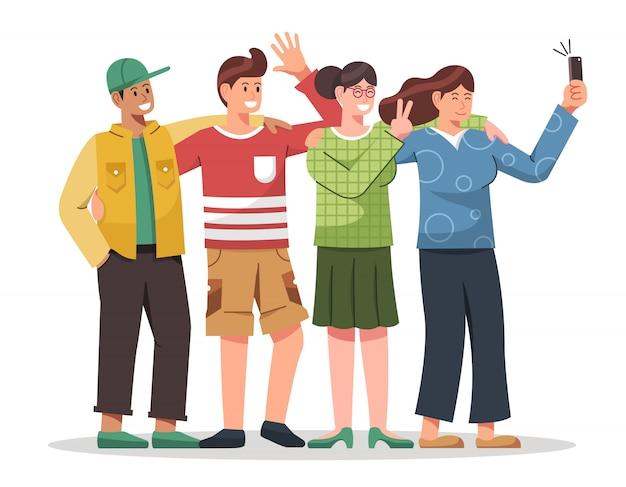 Молодежь обнимает и делает селфи