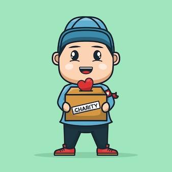 チャリティー募金箱を運ぶボランティア少年