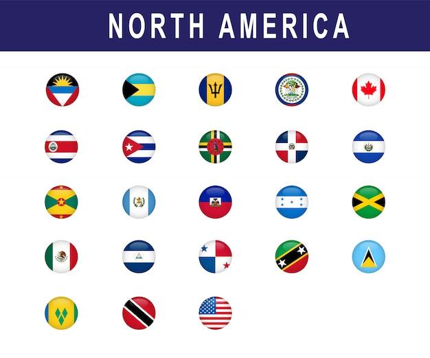 Набор стран северной америки флага раунд