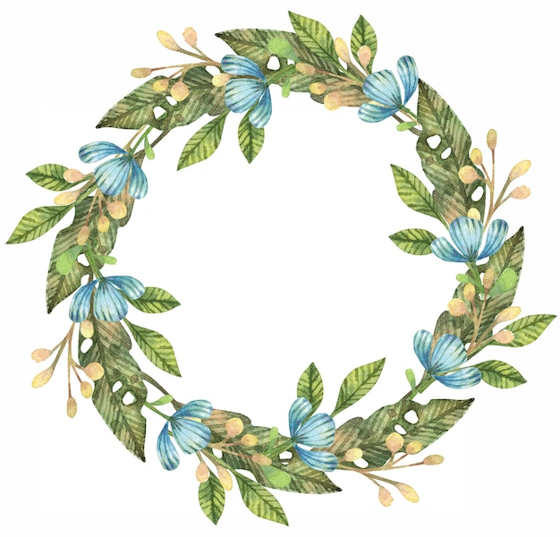 Акварельные иллюстрации весенних листьев, ветвей и цветов. цветочный венок.