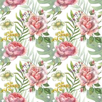 Акварельный бесшовный ботанический образец ярко-розовых полевых цветов пиона, роз и других растений и тропических листьев.
