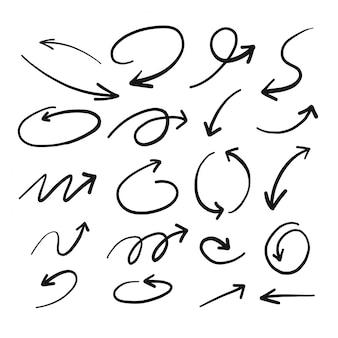 手描きの矢のスケッチ