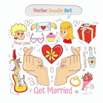 バレンタインデー落書きセットベクトル