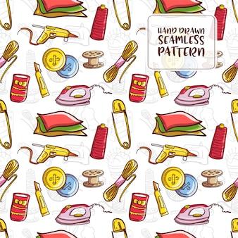 手描き落書き縫製シームレスパターン