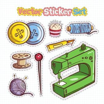 ステッカーパッチセットのミシンアイコン