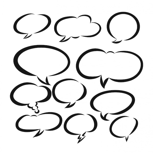 Набор рисованной пустой речи, комиксов или мультфильмов