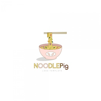 アジア料理レストランのロゴの麺豚のロゴのテンプレート
