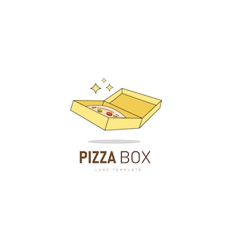 ピザボックスファーストフードのレストランのロゴのボックスのロゴのテンプレートとピザのアイコン。