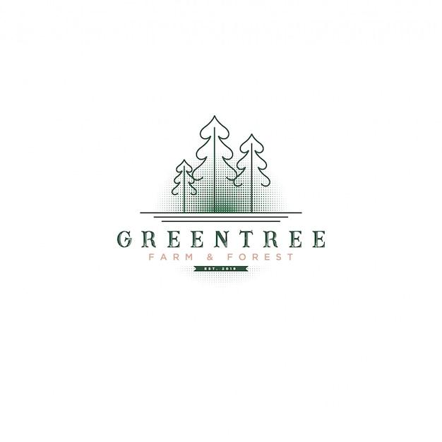 ファーム&ボタニカルロゴのための木とハーフトーンの背景を持つ古典的なビンテージグリーンツリーのロゴ