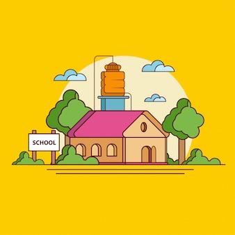Школа на закате на желтом