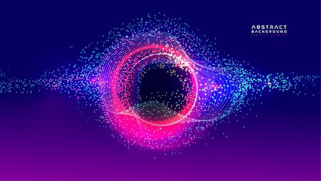 輝く粒子の液体の動的な流れ。トレンディな流体カバー設計