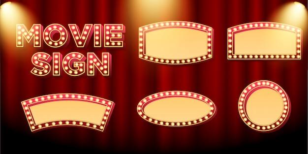 映画や映画のプロモーションのためのマーキーサインボードまたは看板のセット
