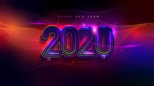 Поздравительная открытка с новым годом с эффектом неонового света