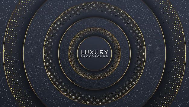 ハーフトーンパターンと輝く波ゴールドテクスチャと抽象的なブラックゴールドの豪華な背景。