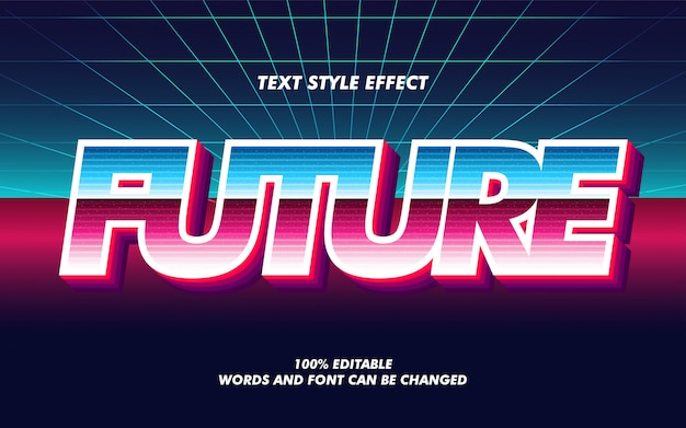 未来のレトロなグラデーション太字テキストスタイル効果