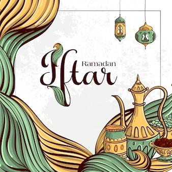 手でラマダンイフタールパーティーグリーティングカードは、白いグランジ背景に日付とイスラム料理を描画します。