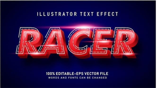 赤いレーサーのテキストスタイルの効果